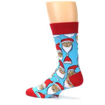 Image of Blue Red Laughing Santa Christmas Men's Dress Socks (side-2-back-14)