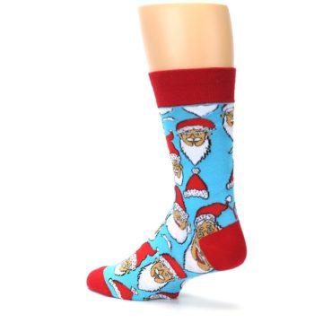 Image of Blue Red Laughing Santa Christmas Men's Dress Socks (side-2-back-15)