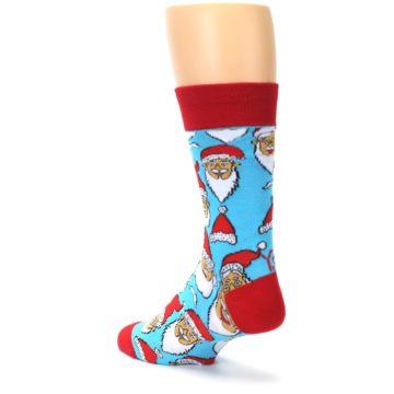 Image of Blue Red Laughing Santa Christmas Men's Dress Socks (side-2-back-16)