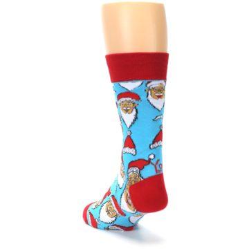 Image of Blue Red Laughing Santa Christmas Men's Dress Socks (back-17)