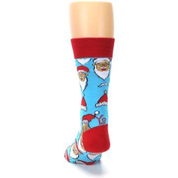 Image of Blue Red Laughing Santa Christmas Men's Dress Socks (back-18)