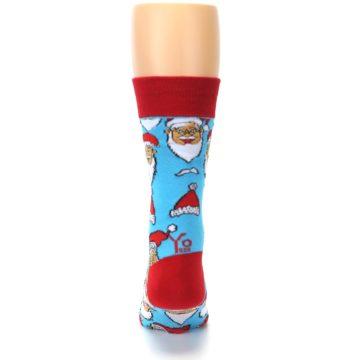 Image of Blue Red Laughing Santa Christmas Men's Dress Socks (back-19)