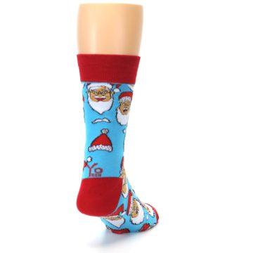 Image of Blue Red Laughing Santa Christmas Men's Dress Socks (side-1-back-21)