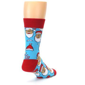 Image of Blue Red Laughing Santa Christmas Men's Dress Socks (side-1-back-22)