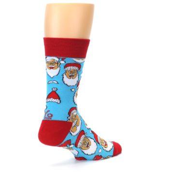 Image of Blue Red Laughing Santa Christmas Men's Dress Socks (side-1-23)