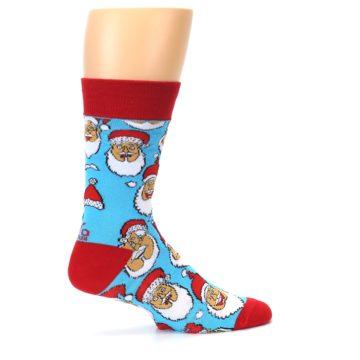 Image of Blue Red Laughing Santa Christmas Men's Dress Socks (side-1-25)