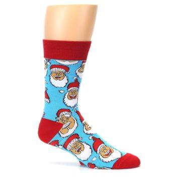 Image of Blue Red Laughing Santa Christmas Men's Dress Socks (side-1-26)