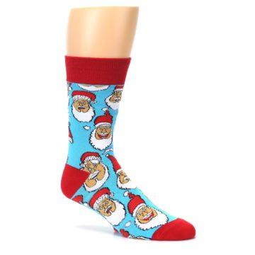 Image of Blue Red Laughing Santa Christmas Men's Dress Socks (side-1-27)