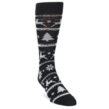 Image of Black Gray Reindeer Tree Christmas Men's Dress Socks (side-1-front-02)