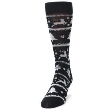 Image of Black Gray Reindeer Tree Christmas Men's Dress Socks (side-2-front-06)
