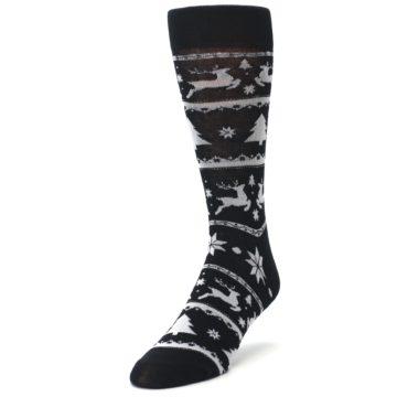 Image of Black Gray Reindeer Tree Christmas Men's Dress Socks (side-2-front-07)