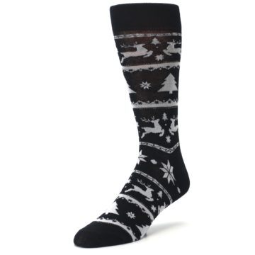 Image of Black Gray Reindeer Tree Christmas Men's Dress Socks (side-2-front-08)