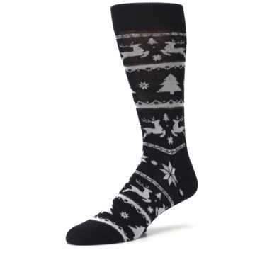 Image of Black Gray Reindeer Tree Christmas Men's Dress Socks (side-2-09)
