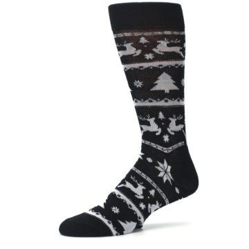 Image of Black Gray Reindeer Tree Christmas Men's Dress Socks (side-2-10)