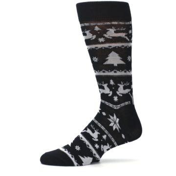 Image of Black Gray Reindeer Tree Christmas Men's Dress Socks (side-2-11)