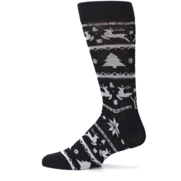 Image of Black Gray Reindeer Tree Christmas Men's Dress Socks (side-2-12)