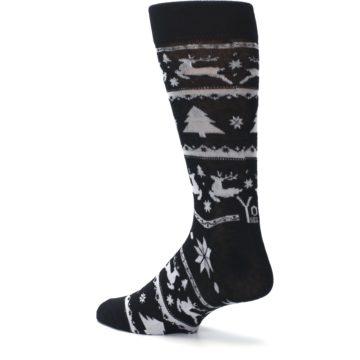 Image of Black Gray Reindeer Tree Christmas Men's Dress Socks (side-2-back-14)