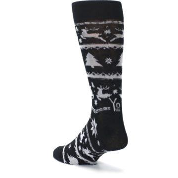 Image of Black Gray Reindeer Tree Christmas Men's Dress Socks (side-2-back-15)