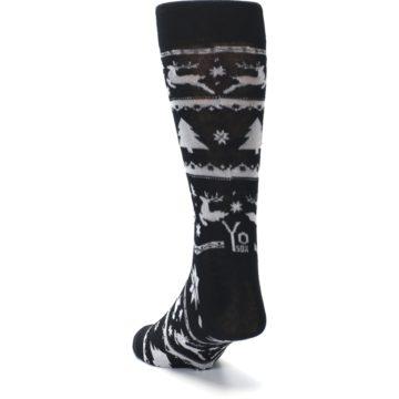 Image of Black Gray Reindeer Tree Christmas Men's Dress Socks (side-2-back-16)