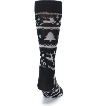 Image of Black Gray Reindeer Tree Christmas Men's Dress Socks (back-19)