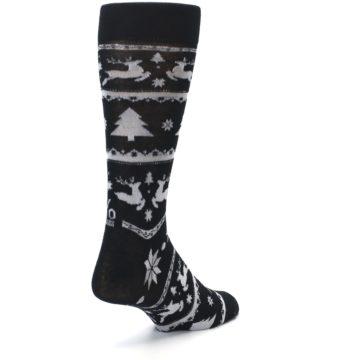 Image of Black Gray Reindeer Tree Christmas Men's Dress Socks (side-1-back-21)