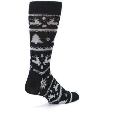 Image of Black Gray Reindeer Tree Christmas Men's Dress Socks (side-1-back-22)