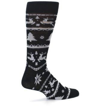 Image of Black Gray Reindeer Tree Christmas Men's Dress Socks (side-1-23)