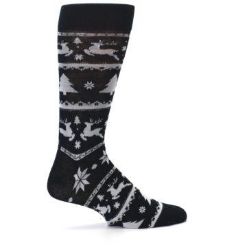 Image of Black Gray Reindeer Tree Christmas Men's Dress Socks (side-1-24)