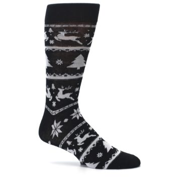 Image of Black Gray Reindeer Tree Christmas Men's Dress Socks (side-1-25)