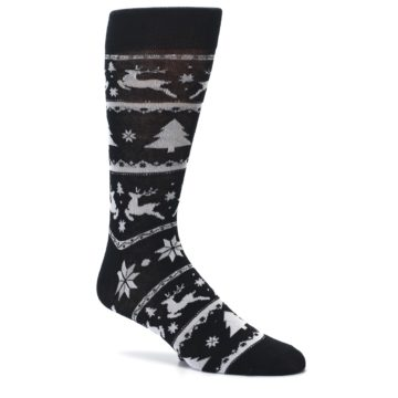 Image of Black Gray Reindeer Tree Christmas Men's Dress Socks (side-1-26)