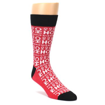 Image of Red White Ho Ho Ho Christmas Men's Dress Socks (side-1-front-01)