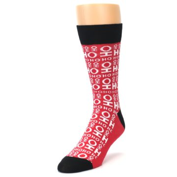 Image of Red White Ho Ho Ho Christmas Men's Dress Socks (side-2-front-07)