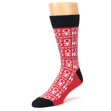 Image of Red White Ho Ho Ho Christmas Men's Dress Socks (side-2-front-08)
