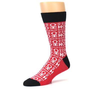 Image of Red White Ho Ho Ho Christmas Men's Dress Socks (side-2-09)