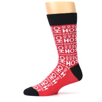Image of Red White Ho Ho Ho Christmas Men's Dress Socks (side-2-11)