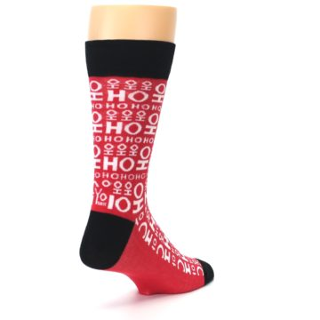Image of Red White Ho Ho Ho Christmas Men's Dress Socks (side-1-back-21)