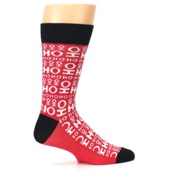 Image of Red White Ho Ho Ho Christmas Men's Dress Socks (side-1-24)