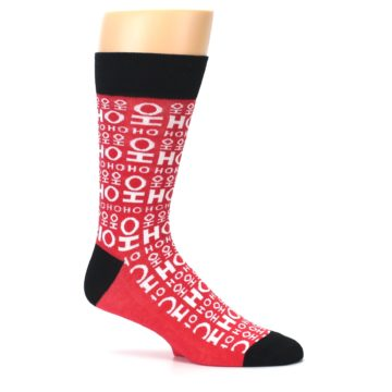 Image of Red White Ho Ho Ho Christmas Men's Dress Socks (side-1-25)