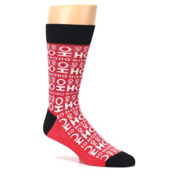 Image of Red White Ho Ho Ho Christmas Men's Dress Socks (side-1-26)