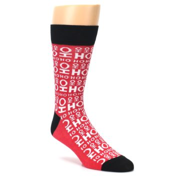 Image of Red White Ho Ho Ho Christmas Men's Dress Socks (side-1-27)