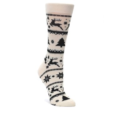 Cream-Black-Reindeer-Tree-Christmas-Womens-Dress-Socks-Yo-Sox