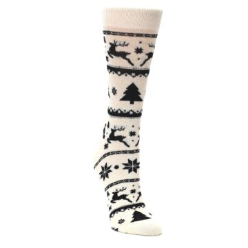 Image of Cream Black Reindeer Tree Christmas Women's Dress Socks (side-1-front-02)