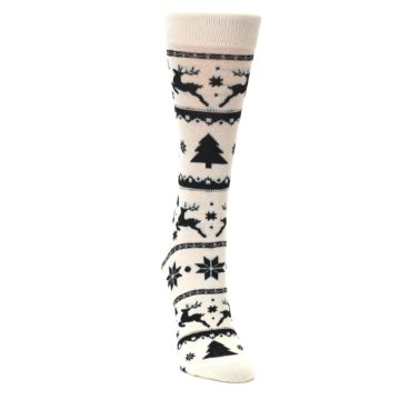Image of Cream Black Reindeer Tree Christmas Women's Dress Socks (side-1-front-03)