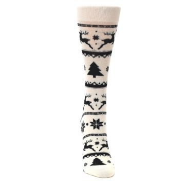 Image of Cream Black Reindeer Tree Christmas Women's Dress Socks (front-04)