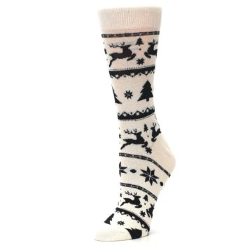 Image of Cream Black Reindeer Tree Christmas Women's Dress Socks (side-2-09)