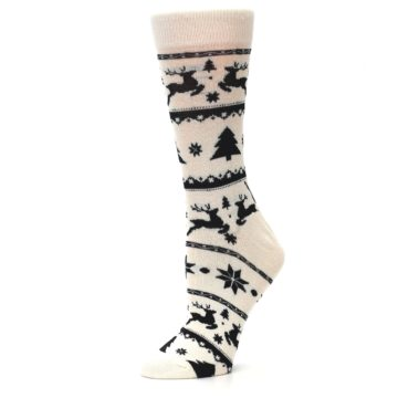 Image of Cream Black Reindeer Tree Christmas Women's Dress Socks (side-2-10)
