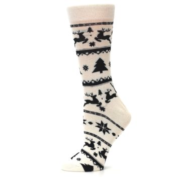 Image of Cream Black Reindeer Tree Christmas Women's Dress Socks (side-2-11)