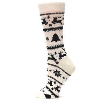 Image of Cream Black Reindeer Tree Christmas Women's Dress Socks (side-2-12)