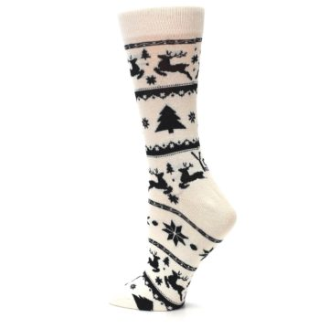 Image of Cream Black Reindeer Tree Christmas Women's Dress Socks (side-2-13)