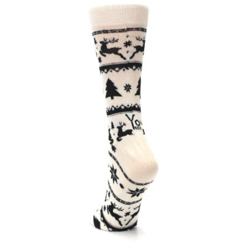 Image of Cream Black Reindeer Tree Christmas Women's Dress Socks (side-2-back-16)
